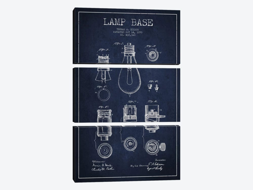 Lamp Base Navy Blue Patent Blueprint 3-piece Canvas Artwork