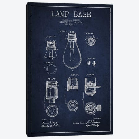 Lamp Base Navy Blue Patent Blueprint Canvas Print #ADP578} by Aged Pixel Canvas Print