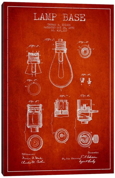 Lamp Base Red Patent Blueprint Canvas Art Print