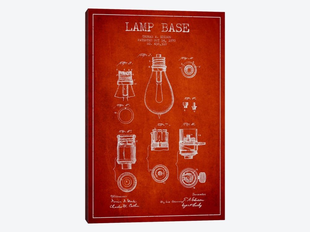 Lamp Base Red Patent Blueprint by Aged Pixel 1-piece Canvas Print