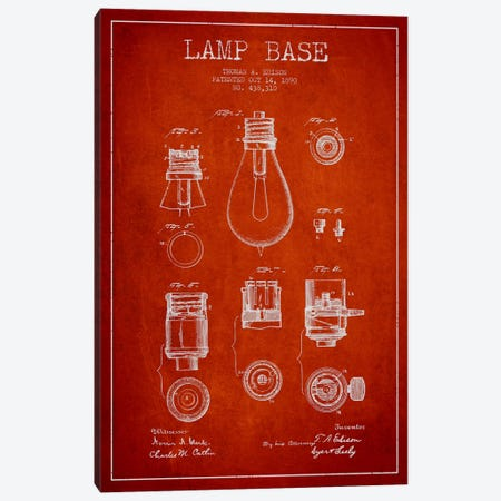 Lamp Base Red Patent Blueprint 3-Piece Canvas #ADP579} by Aged Pixel Canvas Print