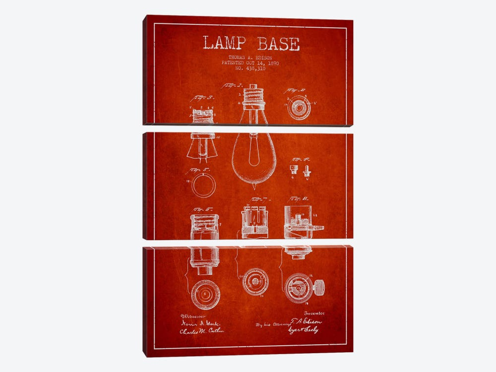Lamp Base Red Patent Blueprint by Aged Pixel 3-piece Canvas Print
