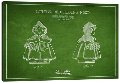 Little Red Riding Hood Green Patent Blueprint Canvas Print #ADP57