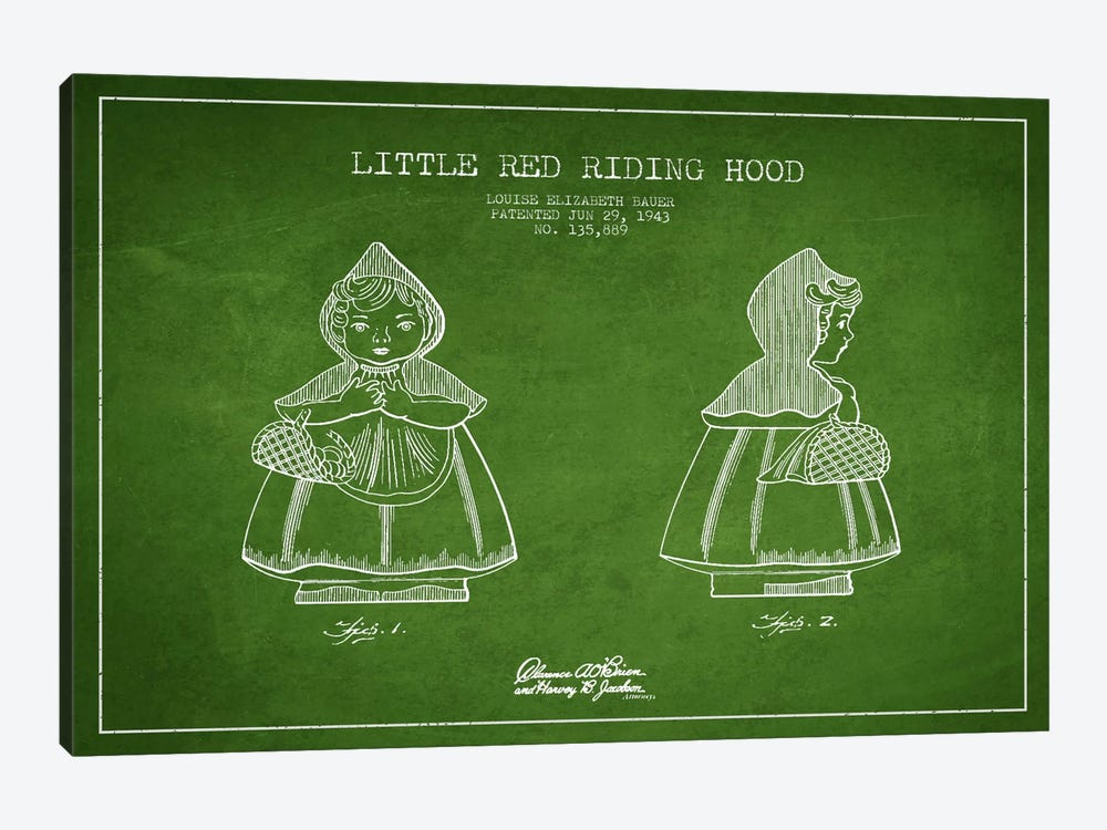 Little Red Riding Hood Green Patent Blueprint by Aged Pixel 1-piece Art Print