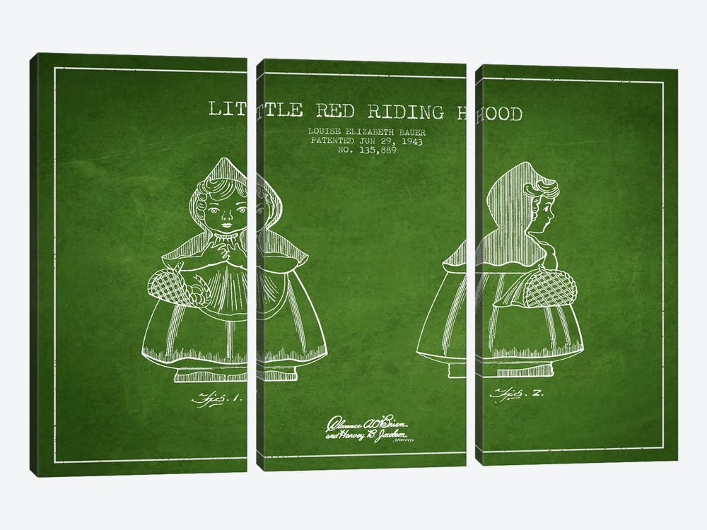 Little Red Riding Hood Green Patent Blueprint by Aged Pixel 3-piece Canvas Print
