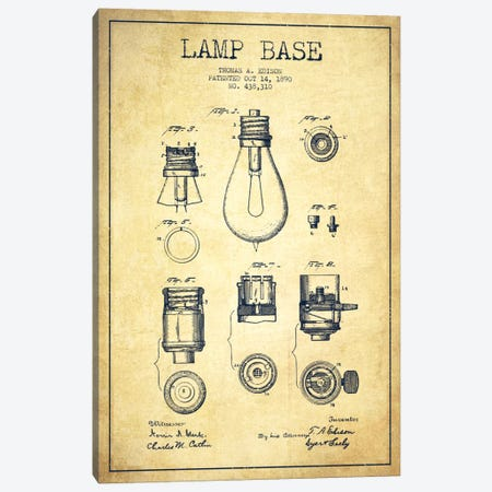 Lamp Base Vintage Patent Blueprint Canvas Print #ADP580} by Aged Pixel Canvas Wall Art