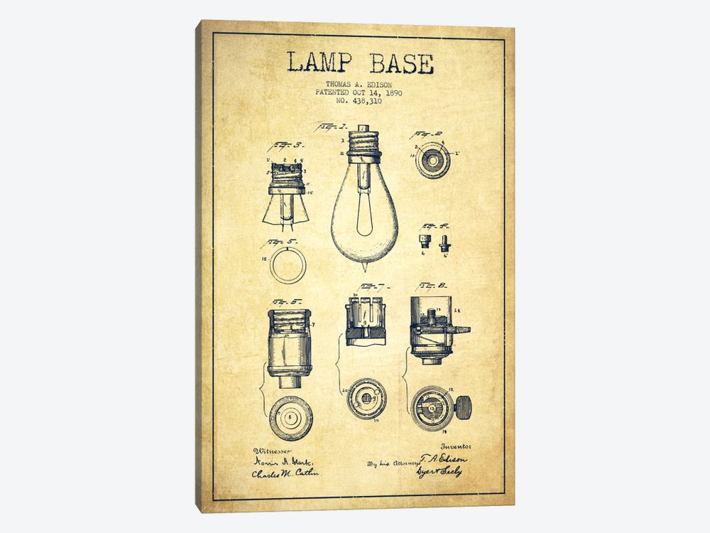 Lamp Base Vintage Patent Blueprint by Aged Pixel 1-piece Canvas Art Print