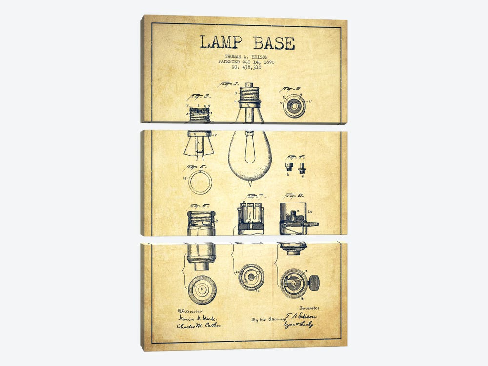 Lamp Base Vintage Patent Blueprint by Aged Pixel 3-piece Canvas Print