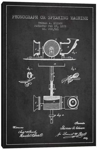 Record Player Charcoal Patent Blueprint Canvas Print #ADP581