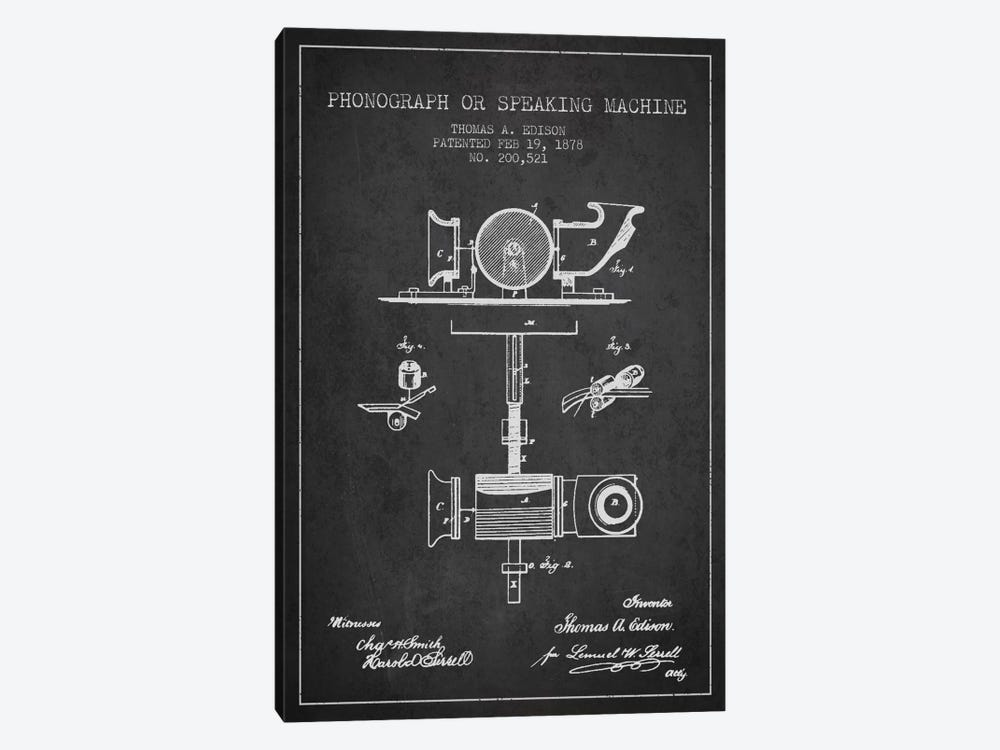 Record Player Charcoal Patent Blueprint by Aged Pixel 1-piece Canvas Artwork