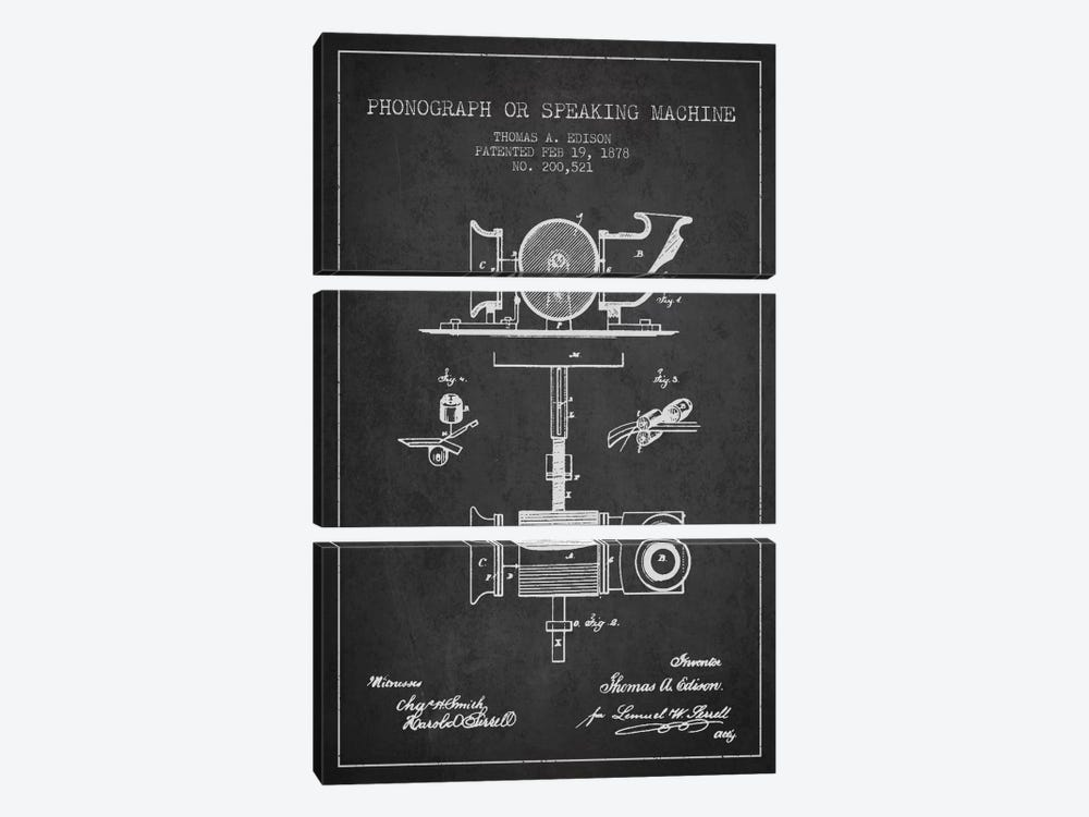 Record Player Charcoal Patent Blueprint by Aged Pixel 3-piece Canvas Art