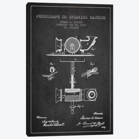 Record Player Charcoal Patent Blueprint Canvas Print #ADP581} by Aged Pixel Canvas Wall Art