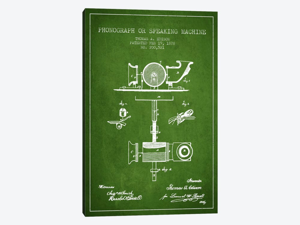 Record Player Green Patent Blueprint by Aged Pixel 1-piece Art Print