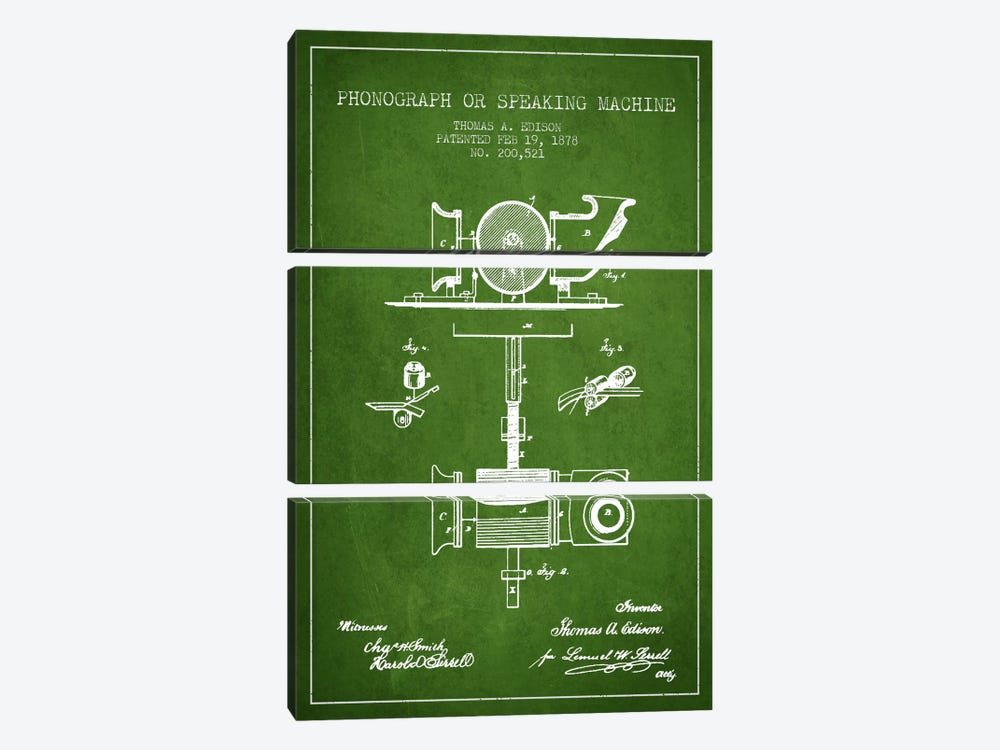 Record Player Green Patent Blueprint by Aged Pixel 3-piece Art Print