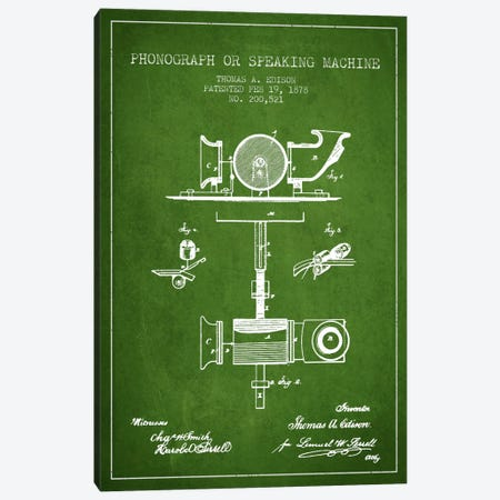 Record Player Green Patent Blueprint Canvas Print #ADP582} by Aged Pixel Canvas Wall Art
