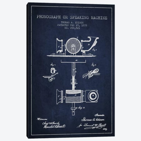 Record Player Navy Blue Patent Blueprint Canvas Print #ADP583} by Aged Pixel Canvas Wall Art
