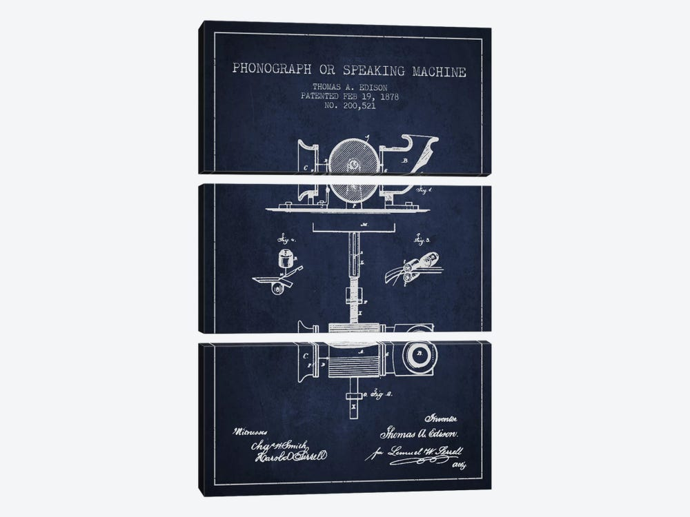 Record Player Navy Blue Patent Blueprint by Aged Pixel 3-piece Canvas Art