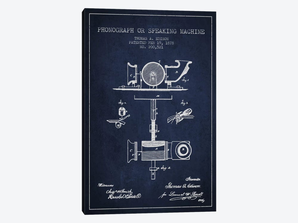 Record Player Navy Blue Patent Blueprint by Aged Pixel 1-piece Canvas Wall Art