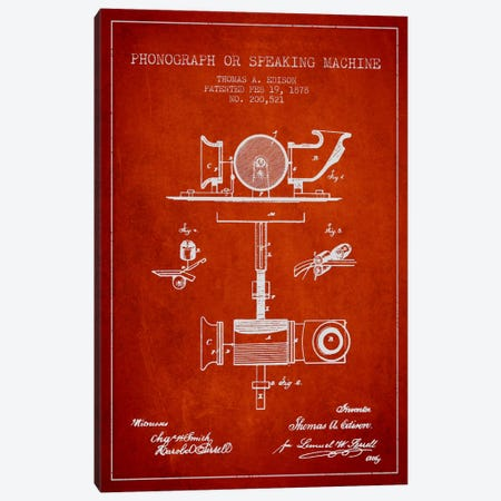 Record Player Red Patent Blueprint Canvas Print #ADP584} by Aged Pixel Canvas Art Print