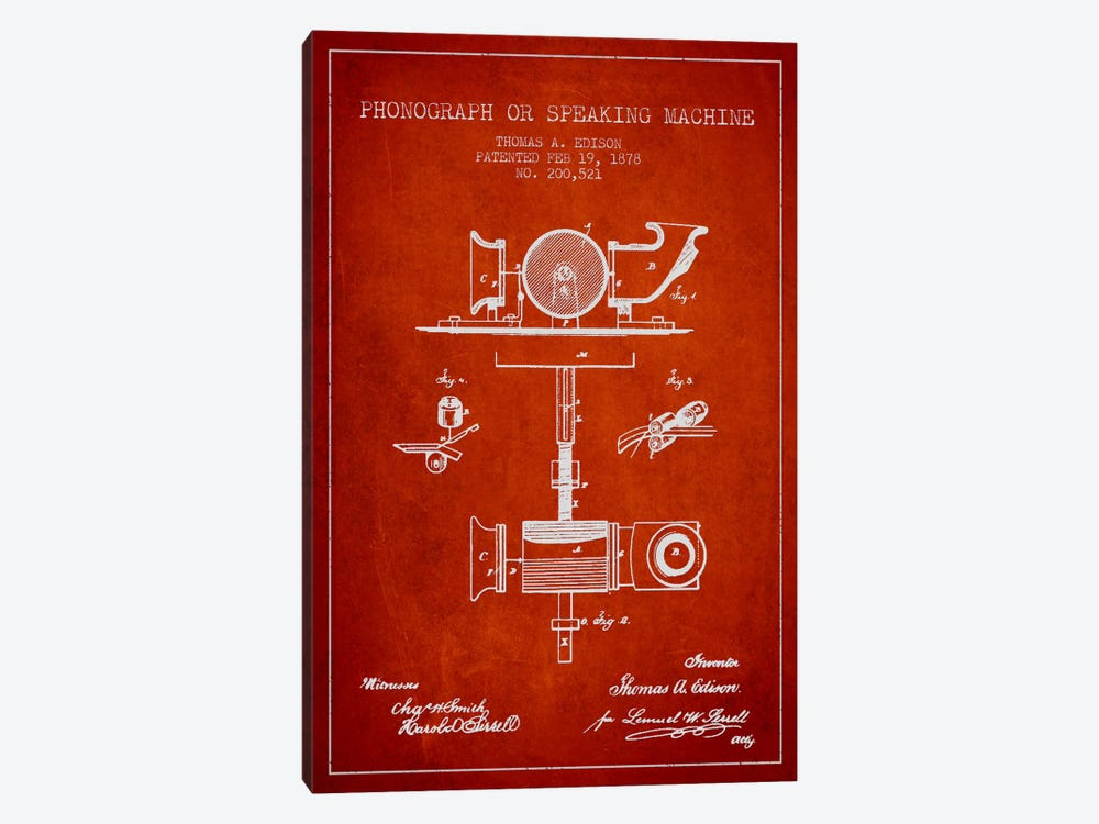Record Player Red Patent Blueprint by Aged Pixel 1-piece Canvas Print