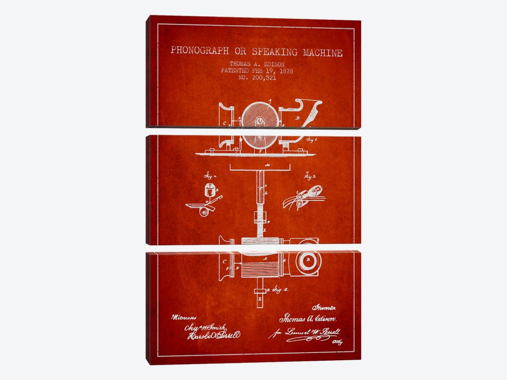 Record Player Red Patent Blueprint by Aged Pixel 3-piece Art Print