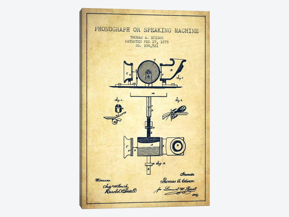 Record Player Vintage Patent Blueprint by Aged Pixel 1-piece Canvas Artwork