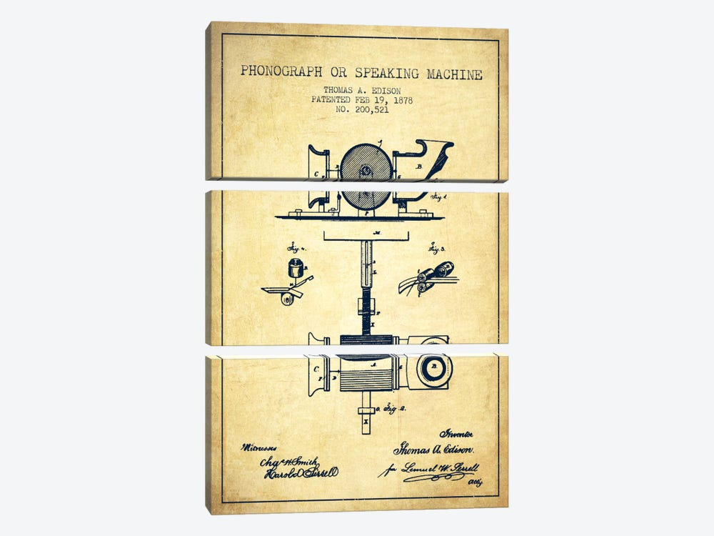 Record Player Vintage Patent Blueprint by Aged Pixel 3-piece Canvas Artwork