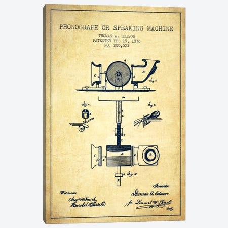 Record Player Vintage Patent Blueprint Canvas Print #ADP585} by Aged Pixel Art Print