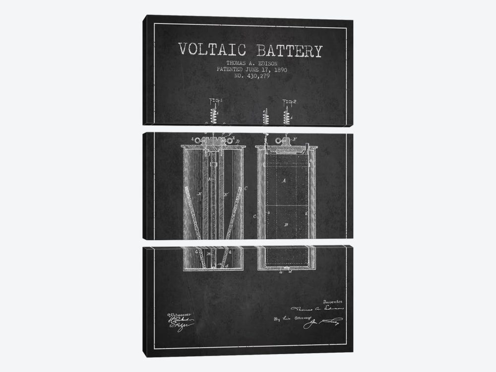 Voltaic Battery Charcoal Patent Blueprint by Aged Pixel 3-piece Canvas Print
