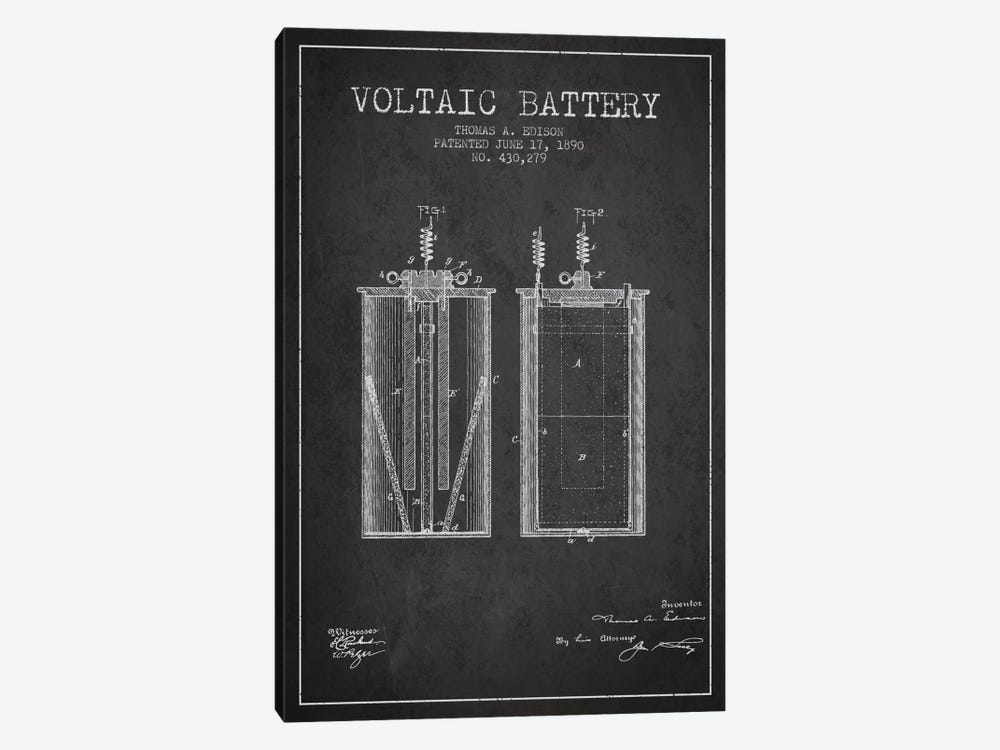 Voltaic Battery Charcoal Patent Blueprint by Aged Pixel 1-piece Canvas Art Print