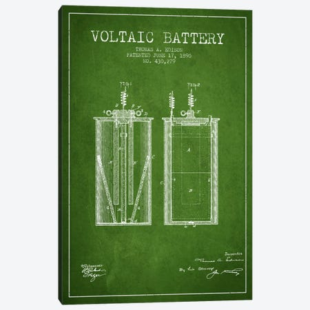 Voltaic Battery Green Patent Blueprint Canvas Print #ADP587} by Aged Pixel Canvas Art Print