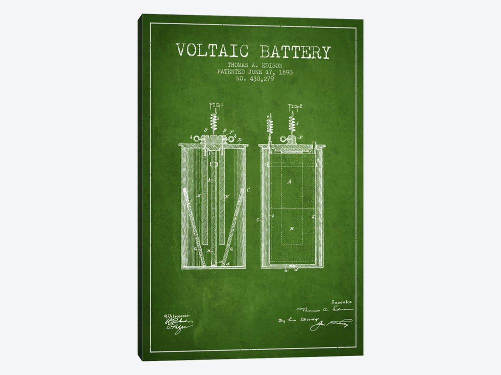 Voltaic Battery Green Patent Blueprint by Aged Pixel 1-piece Canvas Wall Art
