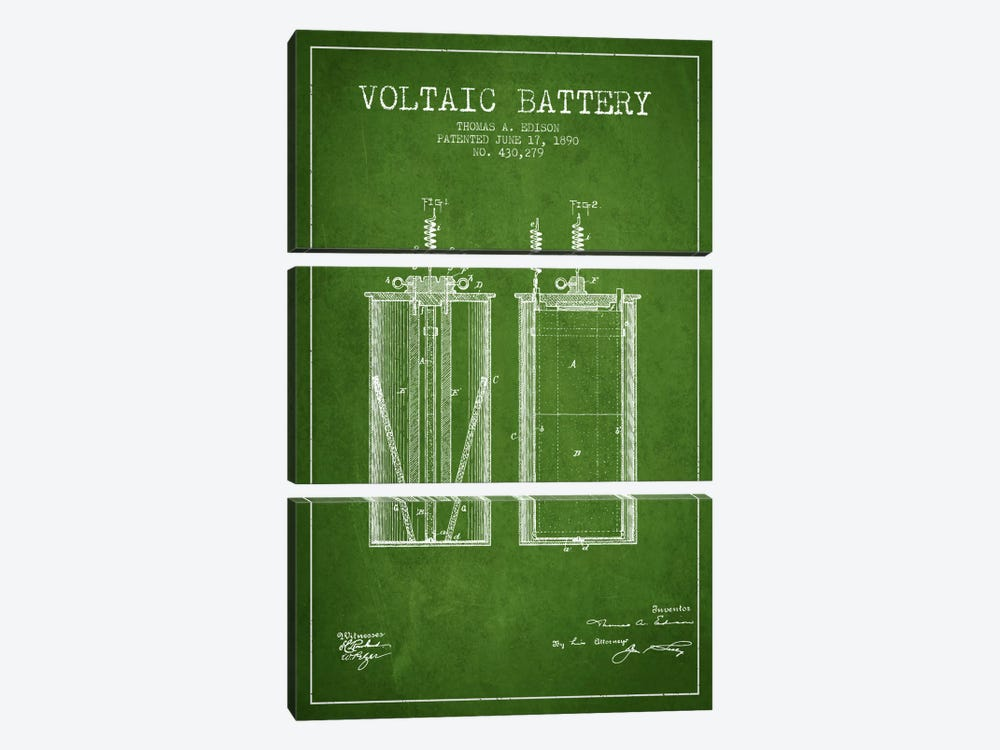 Voltaic Battery Green Patent Blueprint by Aged Pixel 3-piece Canvas Art