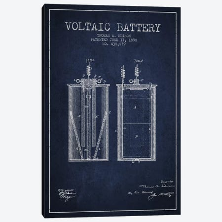 Voltaic Battery Navy Blue Patent Blueprint Canvas Print #ADP588} by Aged Pixel Canvas Artwork