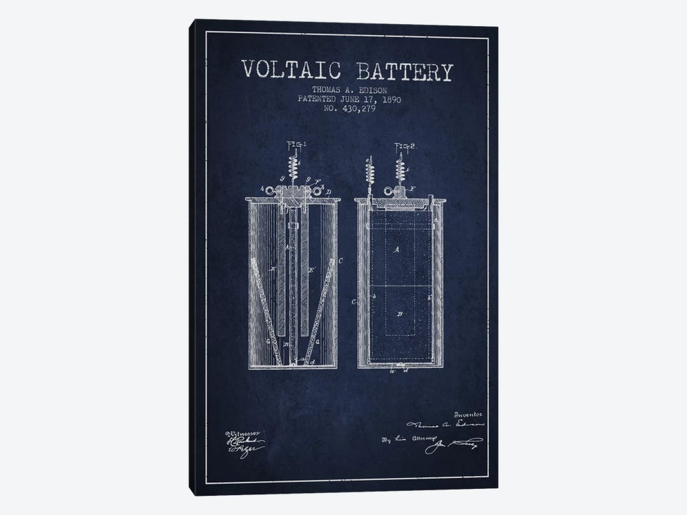 Voltaic Battery Navy Blue Patent Blueprint by Aged Pixel 1-piece Canvas Art Print