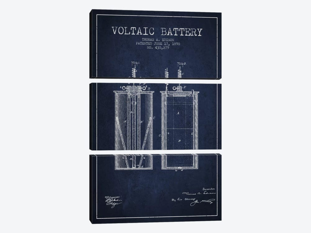 Voltaic Battery Navy Blue Patent Blueprint by Aged Pixel 3-piece Art Print