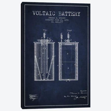 Voltaic Battery Navy Blue Patent Blueprint Canvas Print #ADP588} by Aged Pixel Canvas Artwork