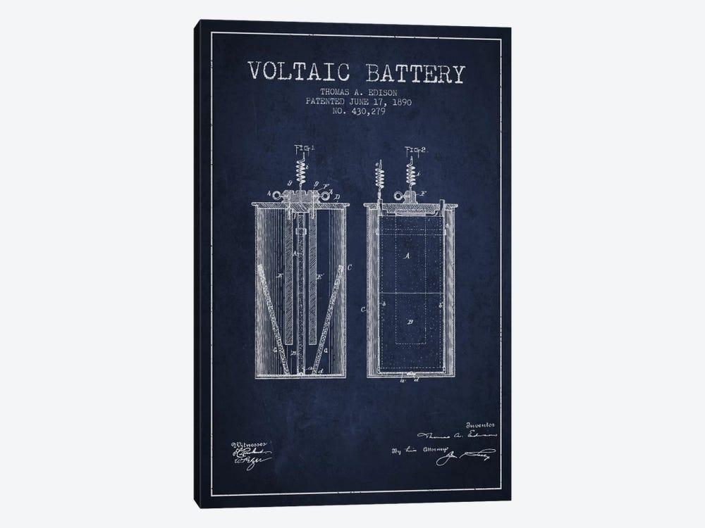 Voltaic Battery Navy Blue Patent Blueprint by Aged Pixel 1-piece Canvas Art Print