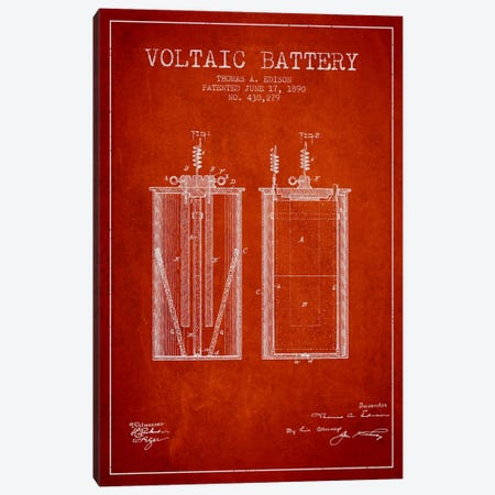 Voltaic Battery Red Patent Blueprint Canvas Print #ADP589} by Aged Pixel Canvas Wall Art
