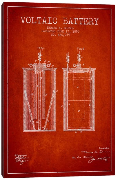 Voltaic Battery Red Patent Blueprint Canvas Art Print