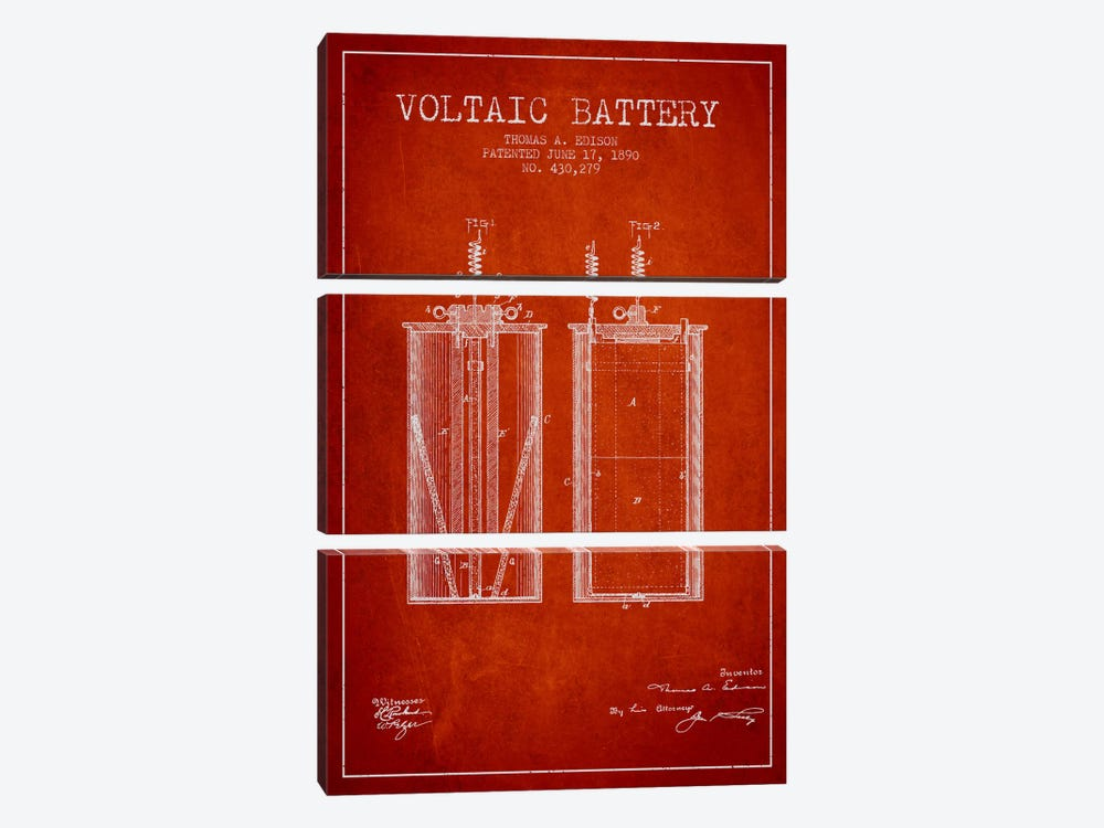 Voltaic Battery Red Patent Blueprint 3-piece Canvas Artwork