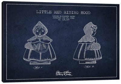 Little Red Riding Hood Navy Blue Patent Blueprint Canvas Print #ADP58