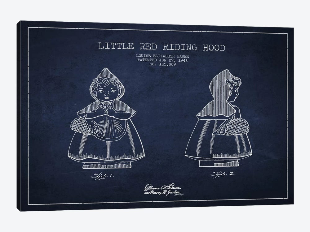 Little Red Riding Hood Navy Blue Patent Blueprint by Aged Pixel 1-piece Canvas Wall Art