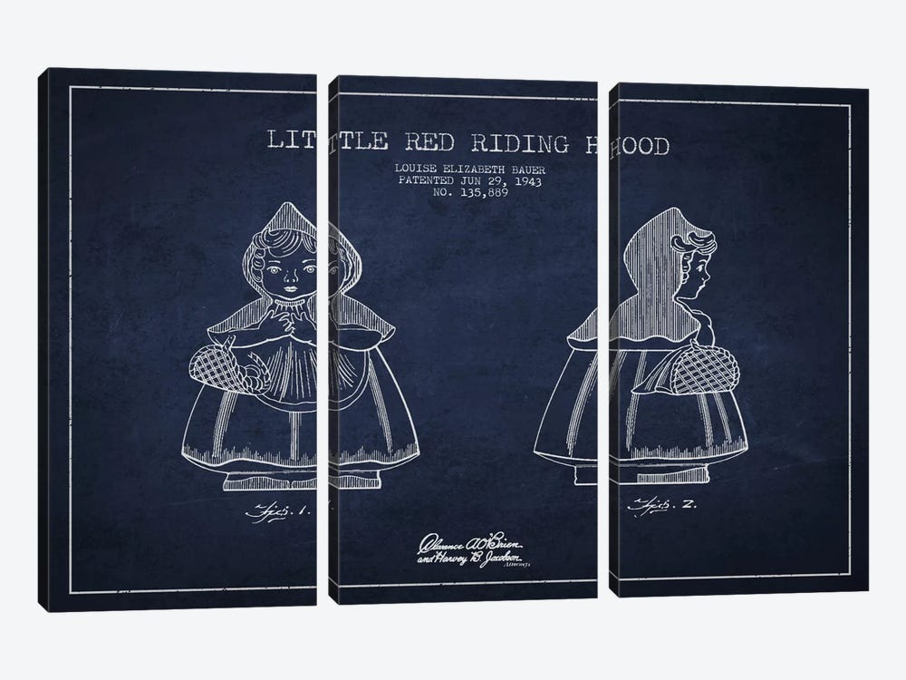 Little Red Riding Hood Navy Blue Patent Blueprint by Aged Pixel 3-piece Canvas Wall Art