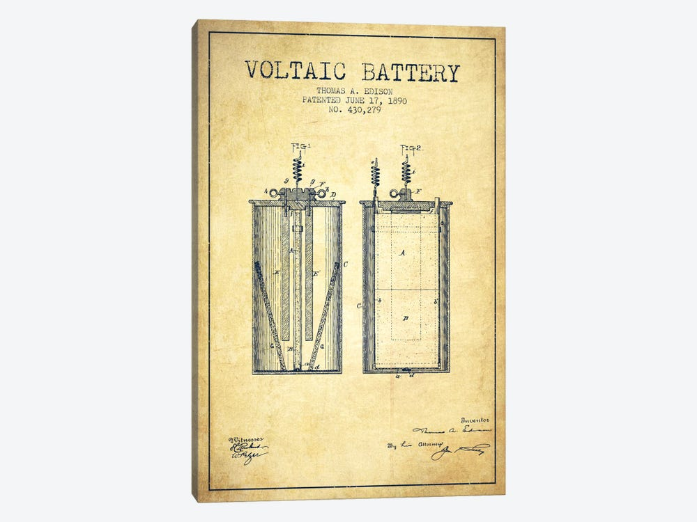 Voltaic Battery Vintage Patent Blueprint by Aged Pixel 1-piece Canvas Artwork