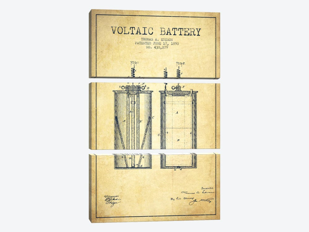 Voltaic Battery Vintage Patent Blueprint by Aged Pixel 3-piece Canvas Artwork