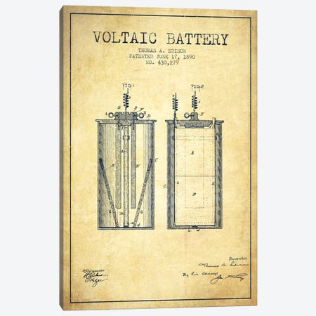 Voltaic Battery Vintage Patent Blueprint Canvas Print #ADP590} by Aged Pixel Art Print