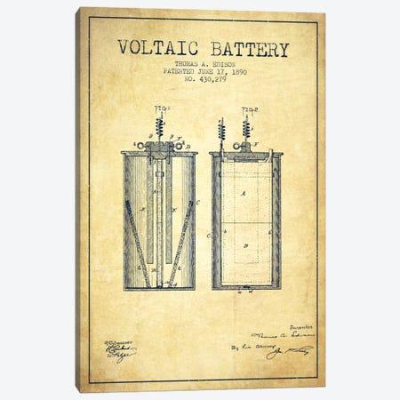 Voltaic Battery Vintage Patent Blueprint Canvas Print #ADP590} by Aged Pixel Art Print