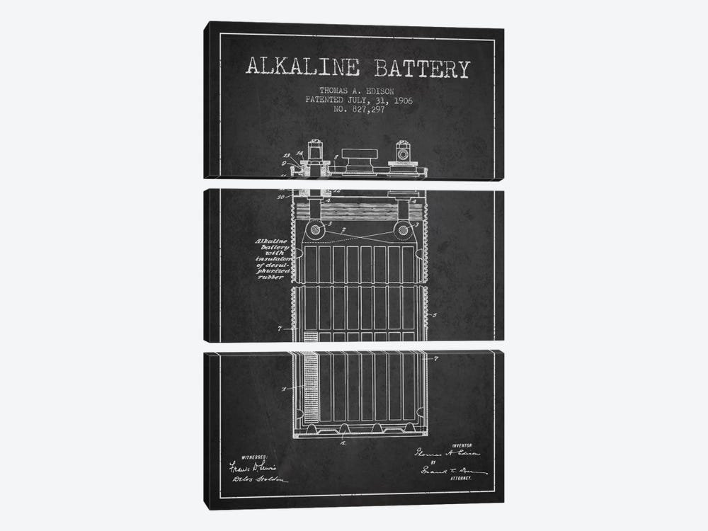 Alkaline Battery Charcoal Patent Blueprint by Aged Pixel 3-piece Canvas Print