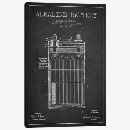 Alkaline Battery Charcoal Patent Blueprint Canvas Print #ADP591} by Aged Pixel Art Print